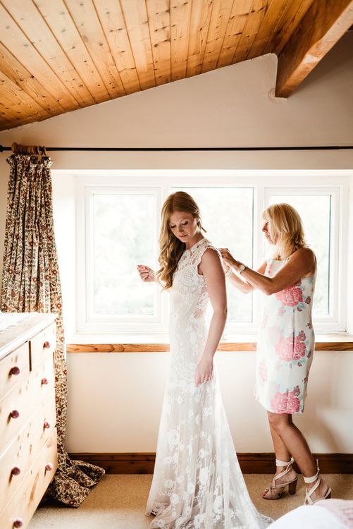 Wedding Morning Bridal Preparations | Claire Pettibone Gown | Colourful Outdoor Ceremony and Marquee Reception at Braisty Estate in North Yorkshire | The Lou's Photography