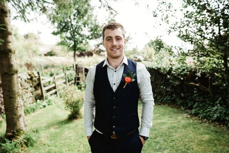 Groom in Waistcoat | Colourful Outdoor Ceremony and Marquee Reception at Braisty Estate in North Yorkshire | The Lou's Photography
