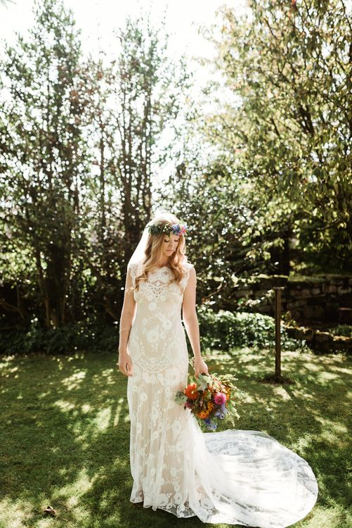 Bride in Claire Pettibone Wedding Dress | Wild Flower Bouquet & Flower Crown | Colourful Outdoor Ceremony and Marquee Reception at Braisty Estate in North Yorkshire | The Lou's Photography