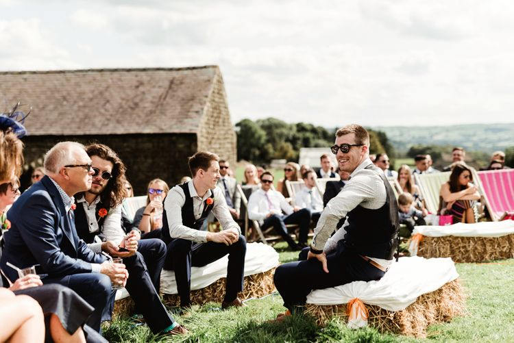 Outdoor Wedding Ceremony | Groomsmen in Waistcoats | Colourful Outdoor Ceremony and Marquee Reception at Braisty Estate in North Yorkshire | The Lou's Photography