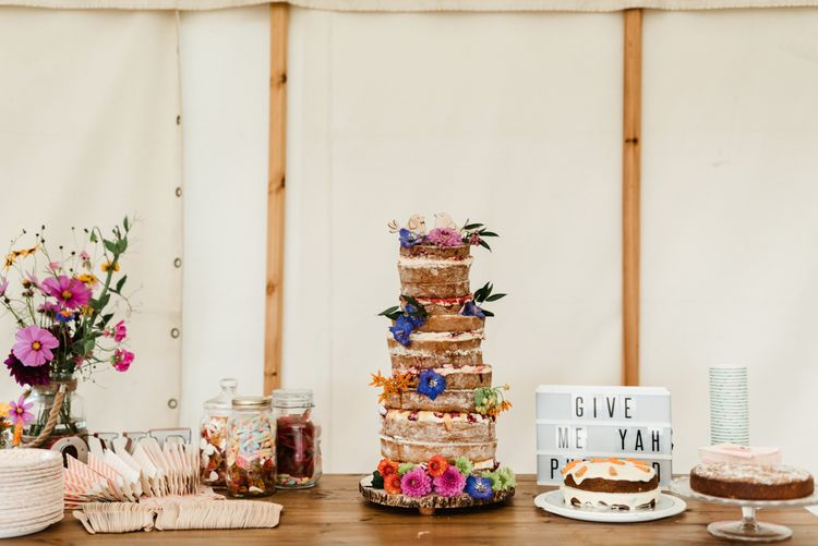 Homemade Naked Wedding Cake | Dessert Table | Colourful Outdoor Ceremony and Marquee Reception at Braisty Estate in North Yorkshire | The Lou's Photography