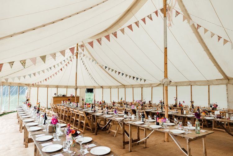 Marquee Reception with Bunting Wedding Decor | Colourful Outdoor Ceremony and Marquee Reception at Braisty Estate in North Yorkshire | The Lou's Photography