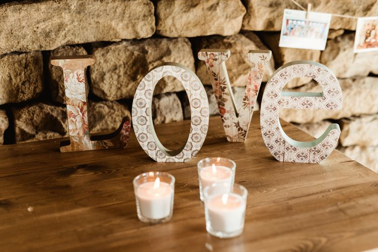 LOVE Letters Wedding Decor | Colourful Outdoor Ceremony and Marquee Reception at Braisty Estate in North Yorkshire | The Lou's Photography