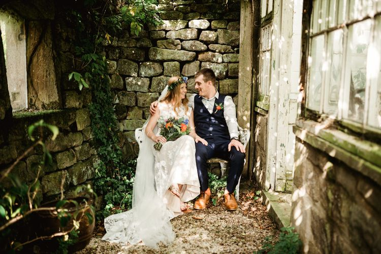 Bride in Claire Pettibone Wedding Dress | Groom in Waistcoat | Colourful Outdoor Ceremony and Marquee Reception at Braisty Estate in North Yorkshire | The Lou's Photography