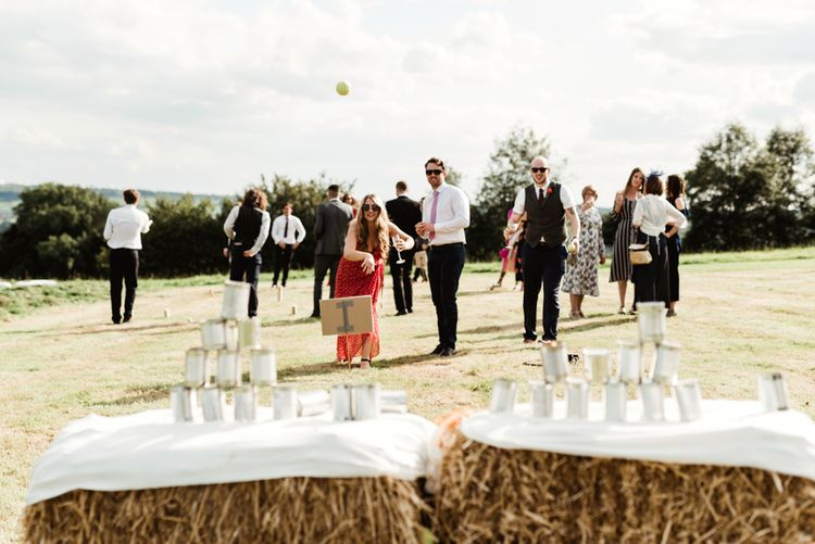 Tin Can Alley Wedding Games | Colourful Outdoor Ceremony and Marquee Reception at Braisty Estate in North Yorkshire | The Lou's Photography
