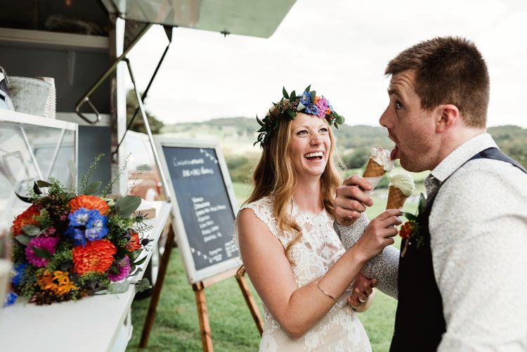 Ice Cream Van | Bride in Claire Pettibone Wedding Dress | Groom in Waistcoat | Colourful Outdoor Ceremony and Marquee Reception at Braisty Estate in North Yorkshire | The Lou's Photography