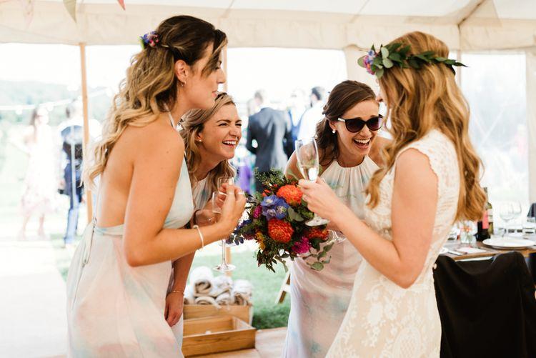 Bride in Claire Pettibone Wedding Dress | Bridesmaids | Colourful Outdoor Ceremony and Marquee Reception at Braisty Estate in North Yorkshire | The Lou's Photography