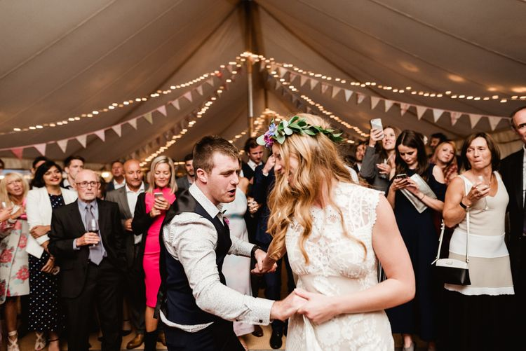First Dance | Bride in Claire Pettibone Wedding Dress | Groom in Waistcoat | Colourful Outdoor Ceremony and Marquee Reception at Braisty Estate in North Yorkshire | The Lou's Photography