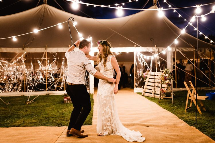 Festoon Lights | Bride in Claire Pettibone Wedding Dress | Groom in Waistcoat | Colourful Outdoor Ceremony and Marquee Reception at Braisty Estate in North Yorkshire | The Lou's Photography