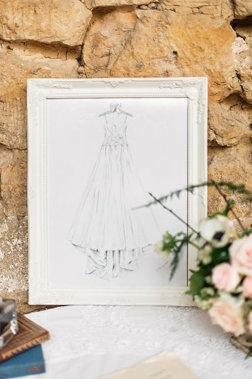 Wedding Dress Design in a Frame | Blush Pink, Romantic, Country Wedding Inspiration at Tithe Barn, Dorset | Darima Frampton Photography