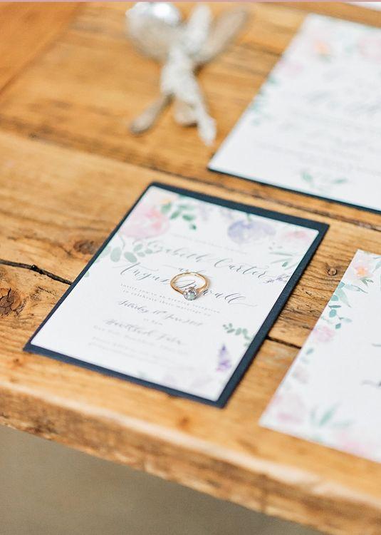 Romantic Wedding Invitation | Blush Pink, Romantic, Country Wedding Inspiration at Tithe Barn, Dorset | Darima Frampton Photography
