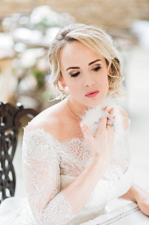 Bridal Preparations | Bride in Lace, Bardot Bridal Gown | Blush Pink, Romantic, Country Wedding Inspiration at Tithe Barn, Dorset | Darima Frampton Photography