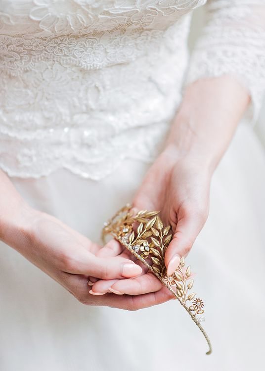Gold Bridal headpiece | Blush Pink, Romantic, Country Wedding Inspiration at Tithe Barn, Dorset | Darima Frampton Photography