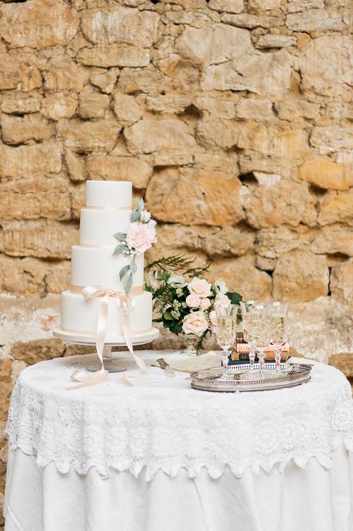 Traditional Three Tier Wedding Cake by Angel Cake Company | Champagne | Blush Pink, Romantic, Country Wedding Inspiration at Tithe Barn, Dorset | Darima Frampton Photography