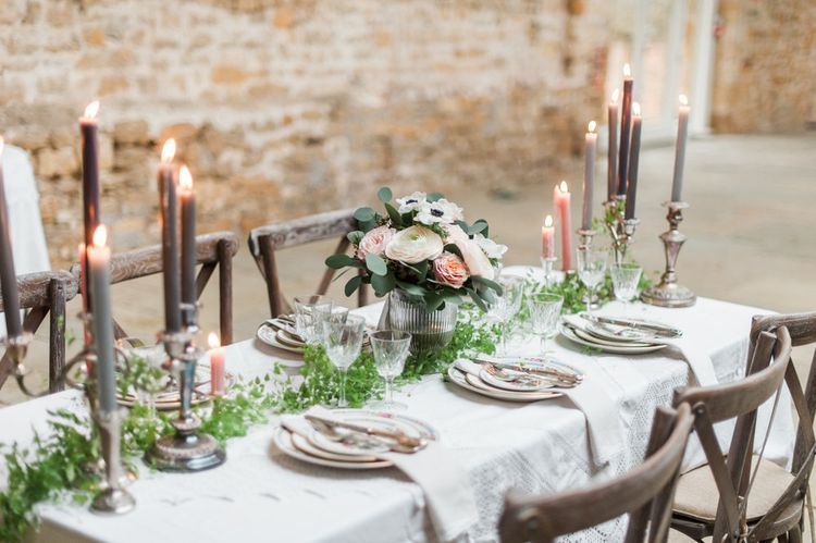 Elegant Place Settings with Vintage China Plate & Menu Card | Floral Centrepiece & Taper Candles | Blush Pink, Romantic, Country Wedding Inspiration at Tithe Barn, Dorset | Darima Frampton Photography