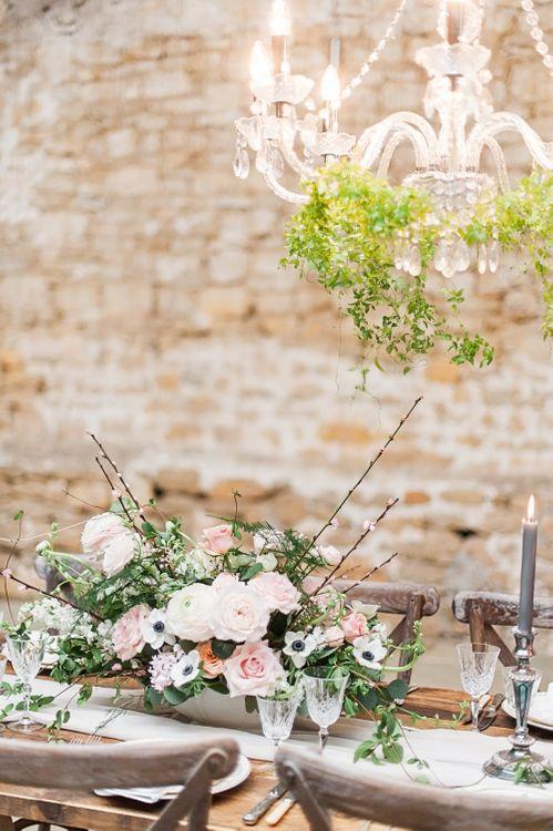 Elegant Tablescape Pink & White Roses,  Ranunculus & Anemone Floral Centrepiece | Blush Pink, Romantic, Country Wedding Inspiration at Tithe Barn, Dorset | Darima Frampton Photography
