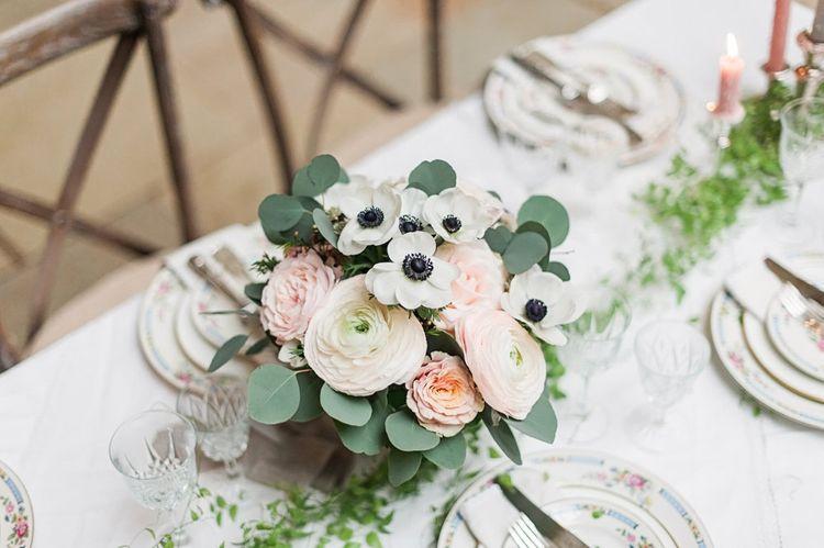 Pink & White Roses,  Ranunculus & Anemone Floral Centrepiece | Blush Pink, Romantic, Country Wedding Inspiration at Tithe Barn, Dorset | Darima Frampton Photography