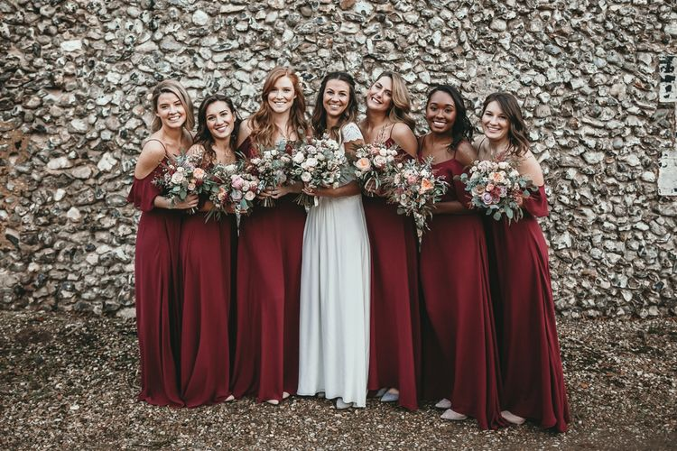Bridesmaids In Off The Shoulder Dresses From Rewritten