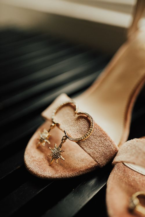 Pink Suede Shoes and Moon and Stars Earrings
