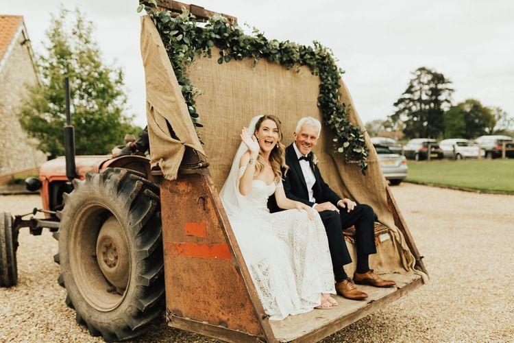 Tractor Wedding Transport with Burlap and Foliage Garland