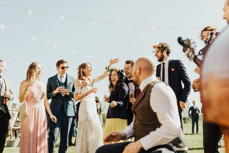 Wedding Guests Enjoying Their Outdoor Drinks Reception