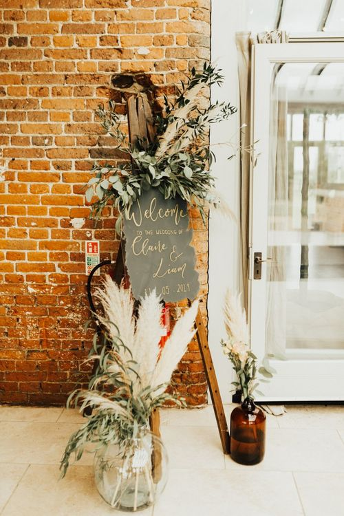 Welcome Sign with Pampas Grass and Foliage Wedding Decor