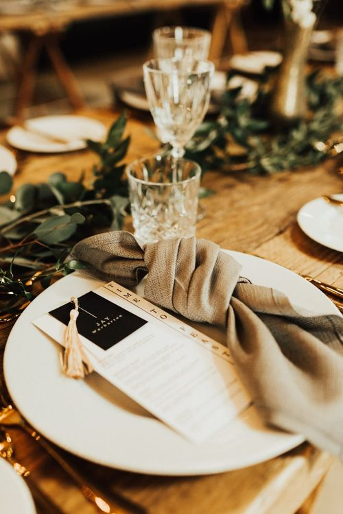 Wedding Stationery and Linens for Elegant Place Setting