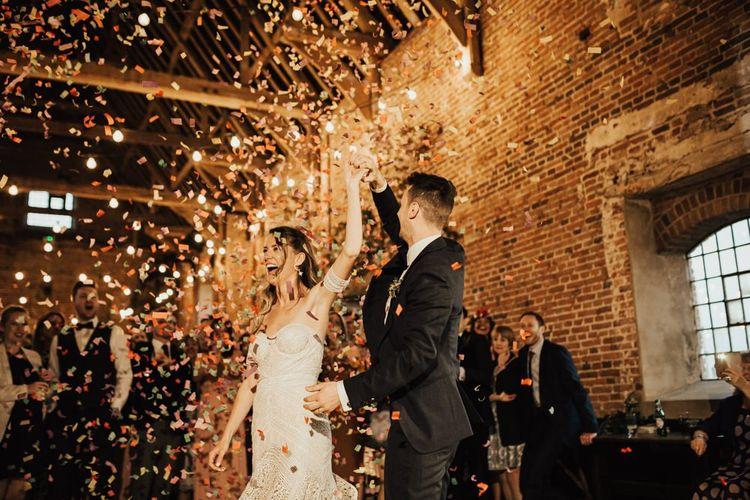Bride and Groom Confetti Bomb Dance Floor Moment