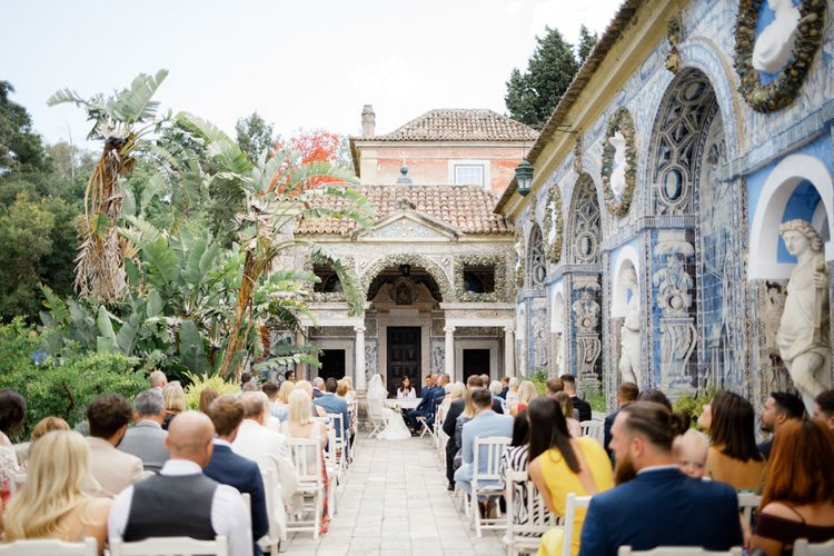 Outdoor Wedding Ceremony at Palácio Fronteira Lisbon Wedding Venue