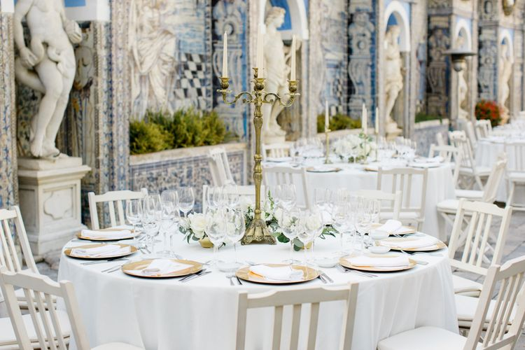 Round Tables at Outdoor Wedding Reception at Palácio Fronteira Lisbon Wedding Venue