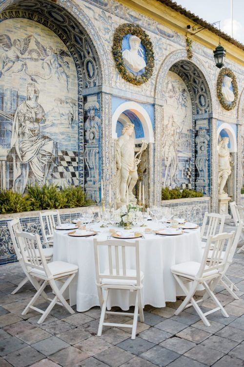 Outdoor Wedding Reception at Palácio Fronteira Lisbon Wedding Venue