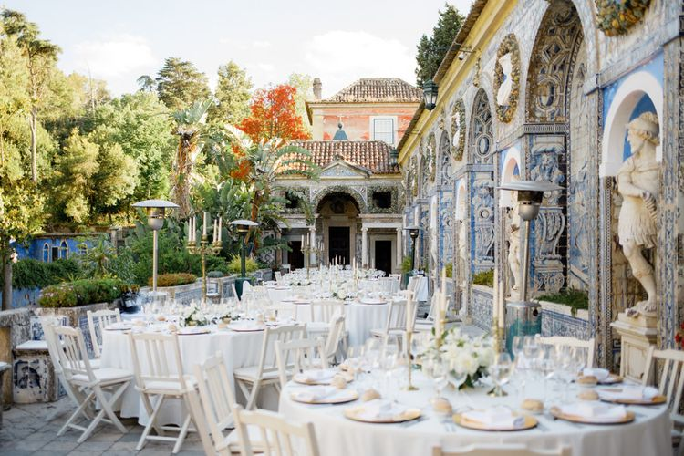 Elegant Wedding Reception Decor at Palácio Fronteira Lisbon Wedding Venue
