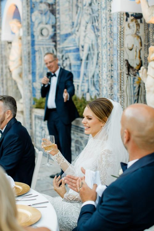 Happy Bride at Wedding Reception Speeches at Palácio Fronteira Lisbon Wedding Venue