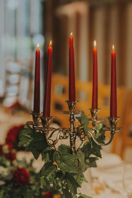 Red Tapered Candles // Image By Nicki Feltham Photography