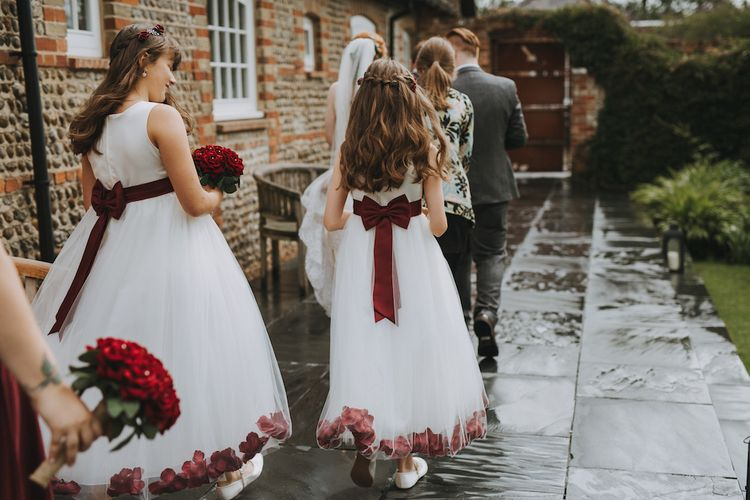 Flower Girls In White And Red Dresses // Image By Nicki Feltham Photography
