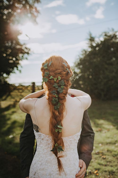 Bride With Braid Covered In Ivy // Image By Nicki Feltham Photography