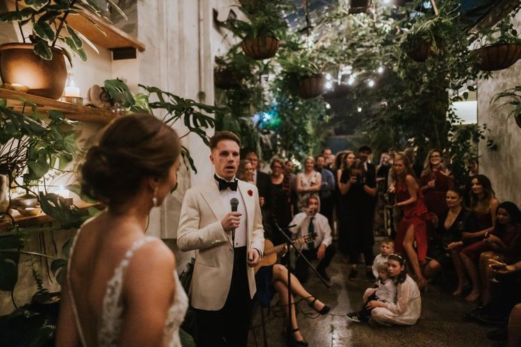 Opera singer groom serenades wife and guests