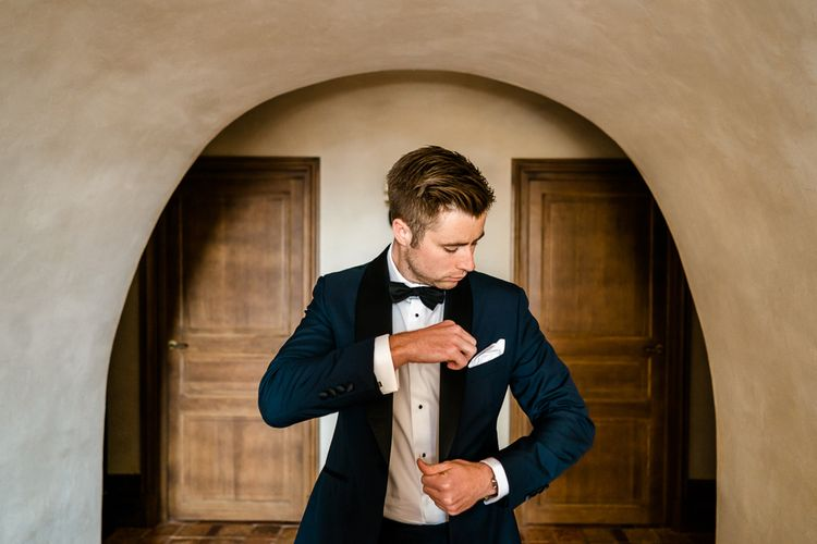 Groom in Edit Suits Tuxedo | Luxe Pink & White Destination Wedding at La Bastide de Gordes in Provence, France, Styled by Haute Wedding | John Barwood Photography | Motion Craft Creative