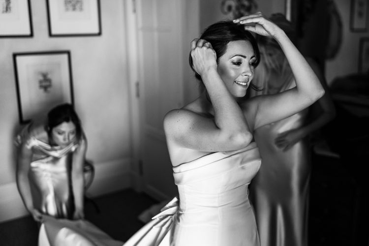 Wedding Morning Bridal Preparations | Bride in  Carolina Herrera Bridal Gown | Luxe Pink & White Destination Wedding at La Bastide de Gordes in Provence, France, Styled by Haute Wedding | John Barwood Photography | Motion Craft Creative