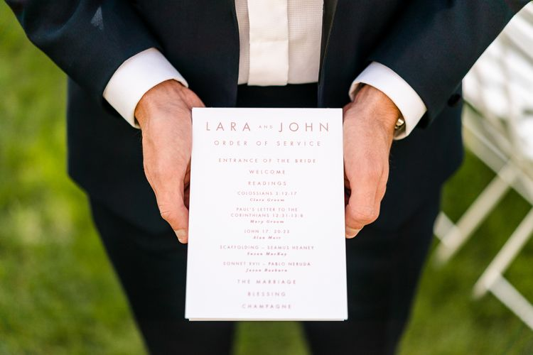 Order of Service Wedding Stationery | Luxe Pink & White Destination Wedding at La Bastide de Gordes in Provence, France, Styled by Haute Wedding | John Barwood Photography | Motion Craft Creative