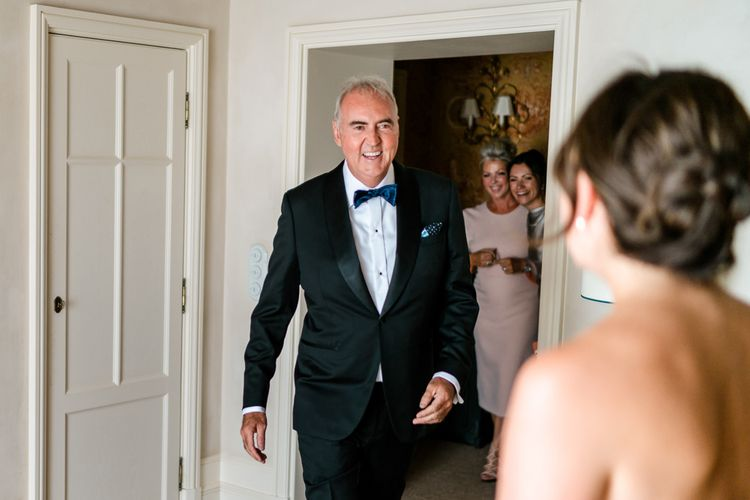 Father of the Bride First Look in Tuxedo | Luxe Pink & White Destination Wedding at La Bastide de Gordes in Provence, France, Styled by Haute Wedding | John Barwood Photography | Motion Craft Creative