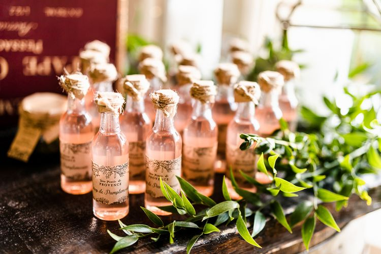 Blush Bottle Wedding Favours | Luxe Pink & White Destination Wedding at La Bastide de Gordes in Provence, France, Styled by Haute Wedding | John Barwood Photography | Motion Craft Creative
