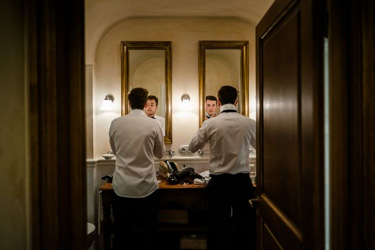 Groomsmen Getting Ready | Luxe Pink & White Destination Wedding at La Bastide de Gordes in Provence, France, Styled by Haute Wedding | John Barwood Photography | Motion Craft Creative
