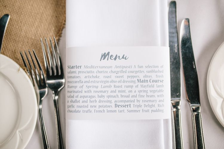 Menu Card For Wedding Place Setting // Embellished Jenny Packham Dress For Elegant Chafford Park Wedding With White Linen And Foliage Details Images From Parkershots