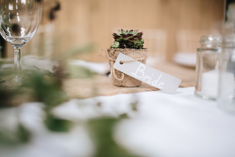 Succulent Wedding Favours // Embellished Jenny Packham Dress For Elegant Chafford Park Wedding With White Linen And Foliage Details Images From Parkershots