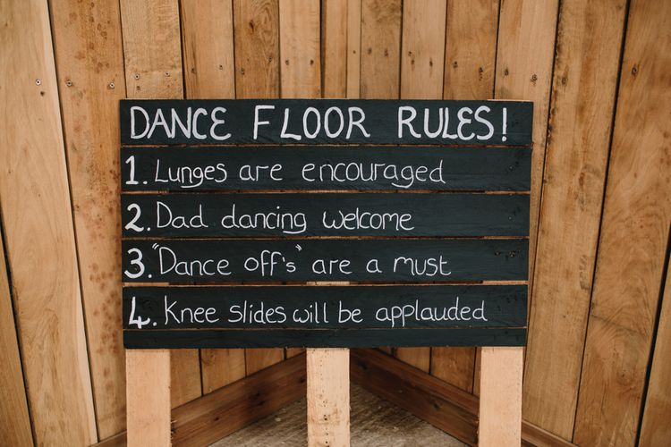 Dance Floor Rules Sign For Wedding // Embellished Jenny Packham Dress For Elegant Chafford Park Wedding With White Linen And Foliage Details Images From Parkershots