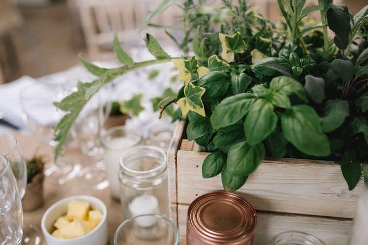 Greenery Table Centre Pieces For Wedding // Embellished Jenny Packham Dress For Elegant Chafford Park Wedding With White Linen And Foliage Details Images From Parkershots