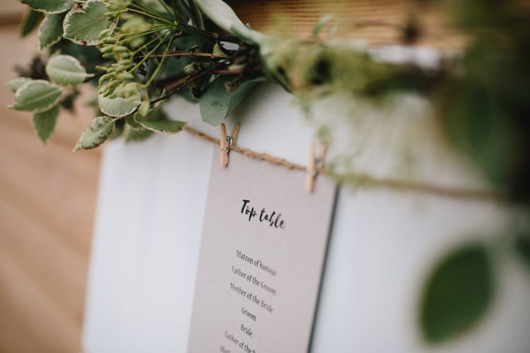 White Table Plan For Wedding // Embellished Jenny Packham Dress For Elegant Chafford Park Wedding With White Linen And Foliage Details Images From Parkershots