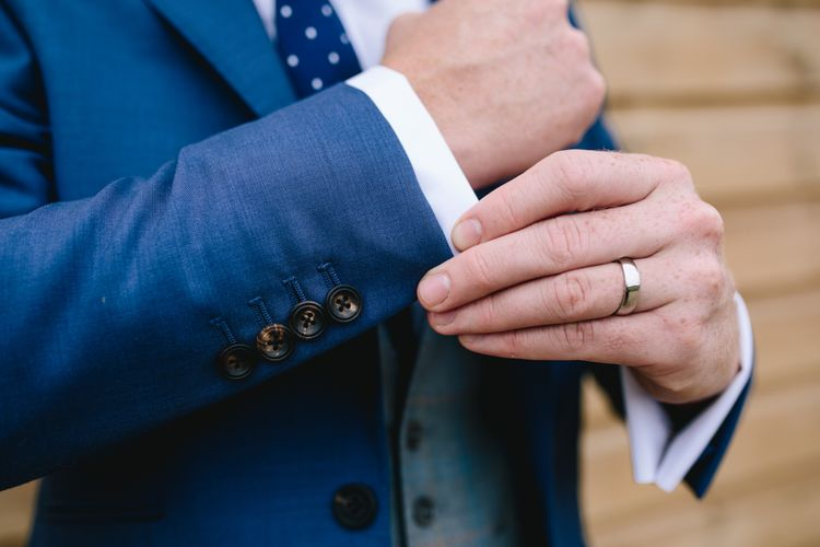 Groom In Blue Suit // Embellished Jenny Packham Dress For Elegant Chafford Park Wedding With White Linen And Foliage Details Images From Parkershots