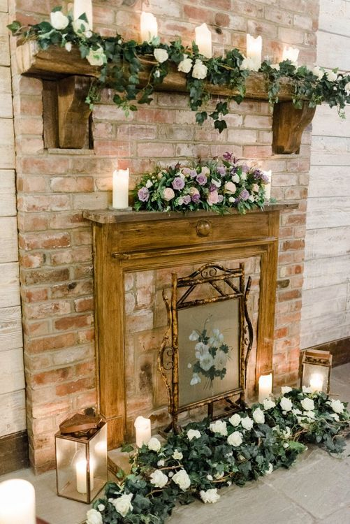 Fireplace Wedding Flowers and Candles